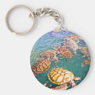 Turtles at Play Key Ring