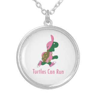 Turtles Can Run Round Pendant Necklace