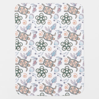 Turtles & Fish Doodlely 7- Baby Blanket