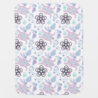 Turtles & Fish Doodlely 8- Baby Blanket