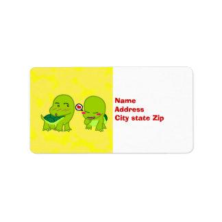 Turtles in love label