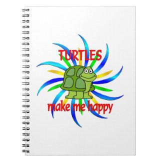 Turtles Make Me Happy Spiral Notebooks