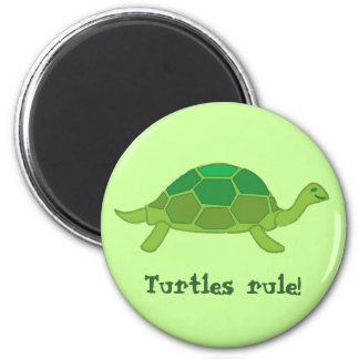 Turtles rule! 6 cm round magnet