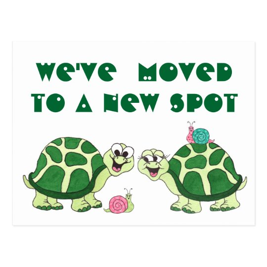 "Turtles  ""We've Moved"" - Customisable Postcard"