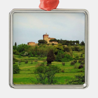 Tuscan Countryside Silver-Colored Square Decoration