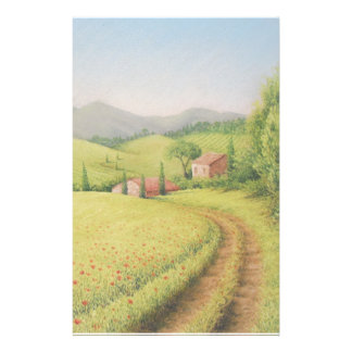 Tuscan Farmhouse, Italy in Pastel Stationery