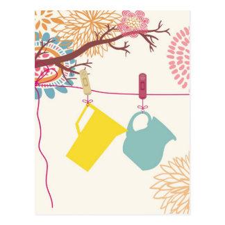 Tuscan-Kitchen - Pitcher on floral. Postcard