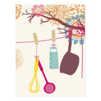 tuscan kitchen - Utensils on floral. Postcard