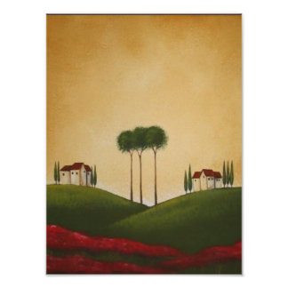 Tuscan Villas and Poppies Print