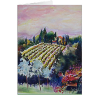 Tuscan Vineyard from Le Docce Villa WATERCOLOR Card