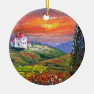 Tuscany Fire Sky Ceramic Ornament