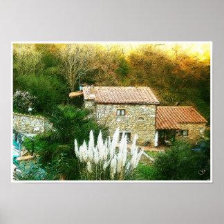 Tuscany. Italy. Cortona. Rustic farmhouse. Poster