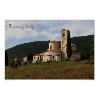 Tuscany, Italy countryside landscape house Poster