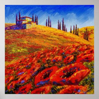 Tuscany Rolling Poppy Hills Poster