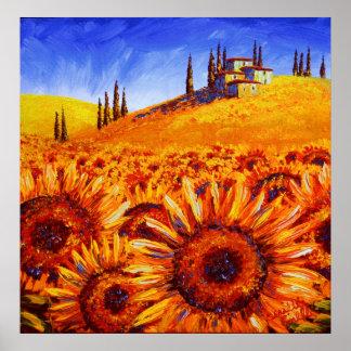 Tuscany Sunflower Hills Poster