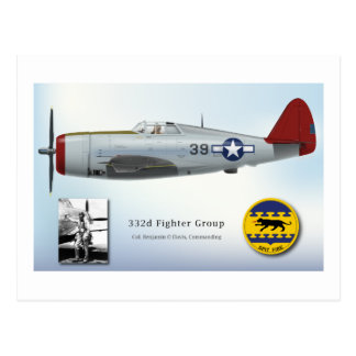 "Tuskegee ""Red Tail"" P-47C Thunderbolt Postcard"