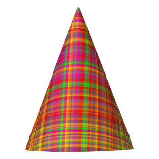 Tutti Frutti PLAID 6-PAPER PARTY HATS