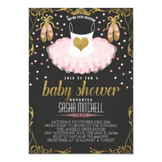 Tutu ballerina baby shower invitation, pink & gold card