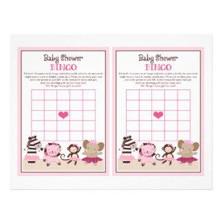 """Tutu Cute Ballet Animals """"Baby Shower Bingo"""" sheet 21.5 Cm X 28 Cm Flyer"""