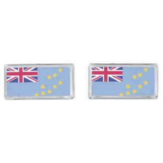 Tuvalu Flag Silver Finish Cufflinks