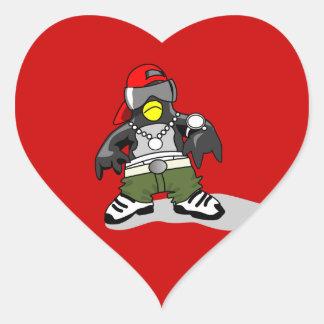 tux-30043 GANGSTER ATTITUDE FUNNY tux penguin da Heart Stickers
