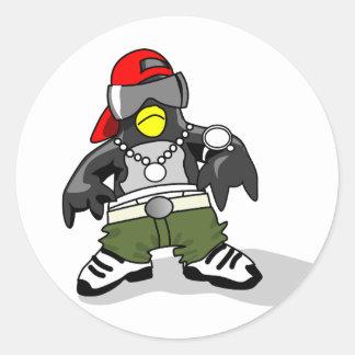 tux-30043 GANGSTER ATTITUDE FUNNY  tux penguin  da Round Sticker