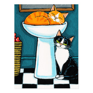 Tux and Tabby Cats in Bathroom Sink Illustration Postcard