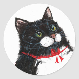 Tux Christmas Cat Classic Round Sticker