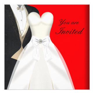 Tuxedo Ball Gown Black Tie Party Invitations