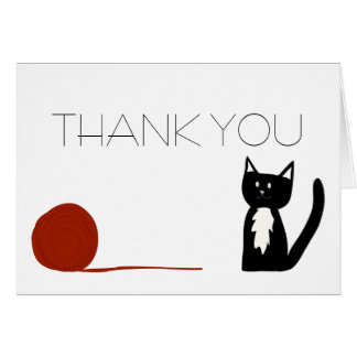 Tuxedo Black and White Cat Thank You Card