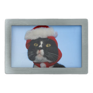 Tuxedo black and white cat with santa hat on rectangular belt buckles