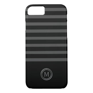 Tuxedo Black Tie & Charcoal Grey Stripe Monogram iPhone 8/7 Case