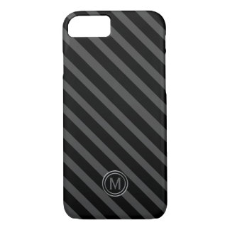 Tuxedo Black Tie & Grey Diagonal Stripe Monogram iPhone 8/7 Case