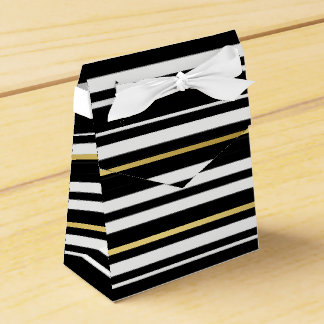 Tuxedo Black & White Double Stripe Gold Formal Favour Box