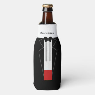 Tuxedo Bridesman Customisable Bottle Cooler