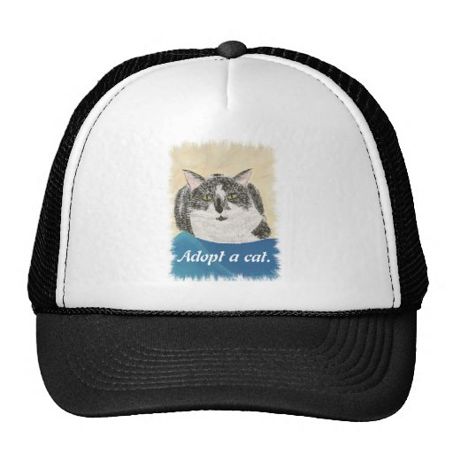 Tuxedo Cat Adopt a cat promotion hats