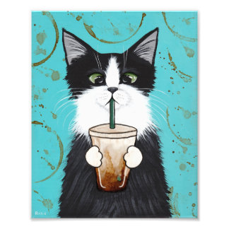 Tuxedo Cat and Iced Coffee Folk Art Photo Print