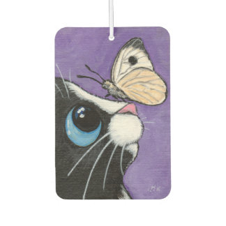 Tuxedo Cat and White Butterfly Illustration Car Air Freshener