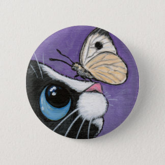 Tuxedo Cat and White Butterfly Painting 6 Cm Round Badge