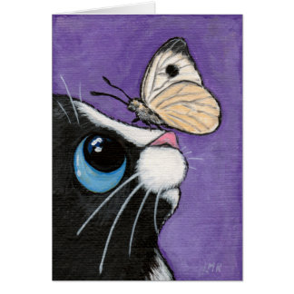 Tuxedo Cat and White Butterfly Painting Greeting Card