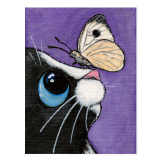 Tuxedo Cat and White Butterfly Painting Postcard
