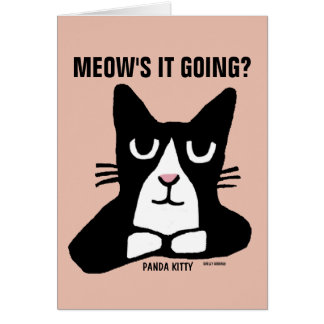 TUXEDO CAT ART Greeting card, Panda Kitty Card