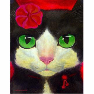 Tuxedo Cat Art Painting Whimsical Feline Photo Sculpture