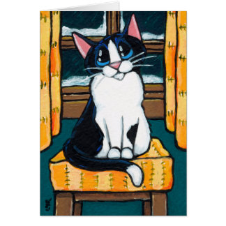 Tuxedo Cat at Snowy Window Painting Card
