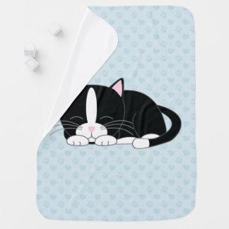 Tuxedo Cat {blue} Baby Blanket