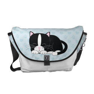 Tuxedo Cat {blue} Courier Bags