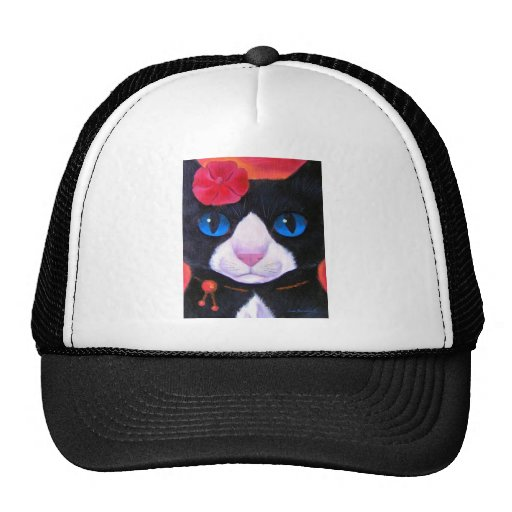 Tuxedo Cat Butterfly Painting - Multi Mesh Hats