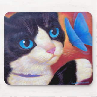 Tuxedo Cat Butterfly Painting - Multi Mouse Pad