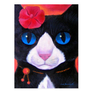 Tuxedo Cat Butterfly Painting - Multi Postcard