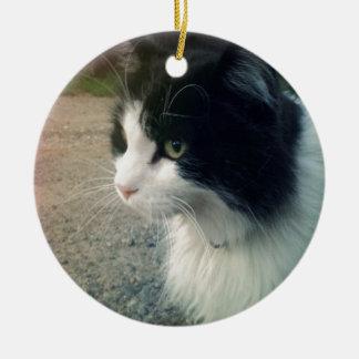 Tuxedo Cat Ceramic Ornament